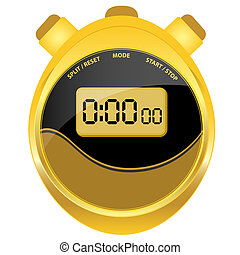 Digital stopwatch modern oval style - Digital stopwatch in...