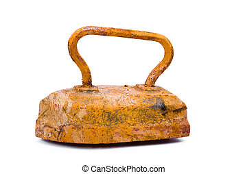 Old rusty pig-iron iron on white background