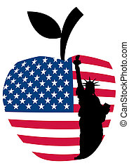 statue of liberty on big apple - illustration of statue of...