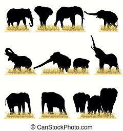 Elephants Silhouettes Set