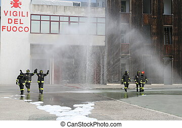 fire station during a training exercise for firefighters