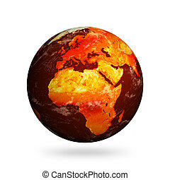 Planet Earth and global warming showing Europe and Africa isolated against white.  Clouds and land textures from http://shadedrelief.com.