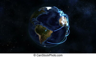 Earth with blue connections turning on itself in the space...