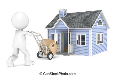 Moving in - 3D little human character with a Hand Truck and...