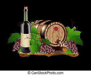 In oak barrels for grapes - Illustration jpg done in vector,...