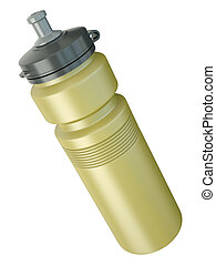 Water bottle - Yellow sports water bottle. 3D render.