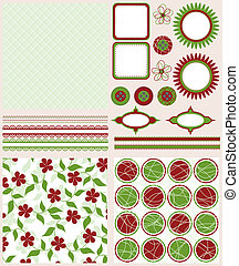 Scrapbook elements and patterns for design, vector...