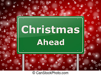 christmas ahead traffic sign on snowing background