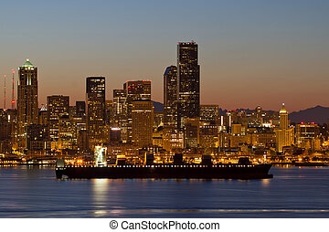 Container Ship on Puget Sound along Seattle Skyline