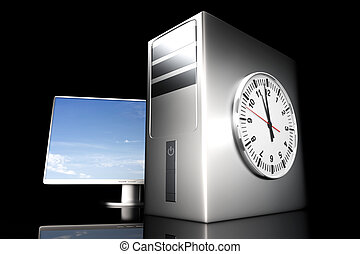 Computer Time - Digital time server time 3D rendered...