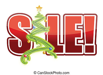 christmas sale tree sign
