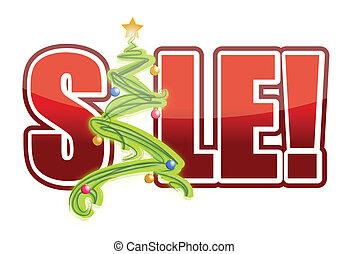 christmas sale tree sign