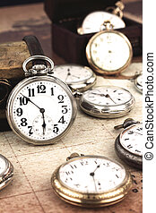 Antique retro silver pocket clocks