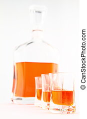 Homemade liqueur in small glasses