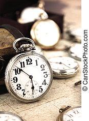 骨董品, ポケット, レトロ, 銀, 時計