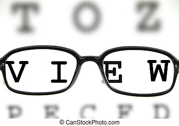 Medical eyeglasses on an eye chart