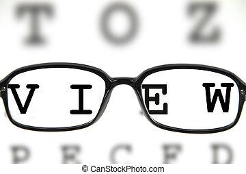 Medical eyeglasses on an eye chart