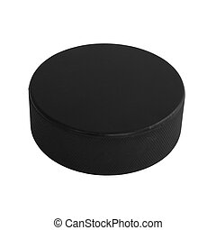 Hockey Puck - An isolated hockey puck laying flat over a...