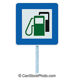 Gas Station Road Sign, Green Energy Concept, Gasoline Fuel...