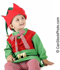 Happy Christmas Elf - A portrait of an adorable toddler...