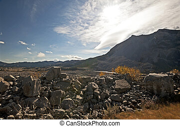 Alberta - Frank Slide disaster - Destroyed town Frank by...