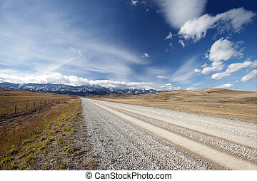 Alberta - Canadian Rockies - Gravel road to Canadian Rockies...