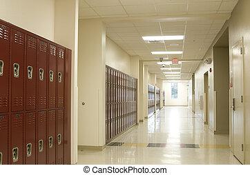 Pasillo, alto, escuela