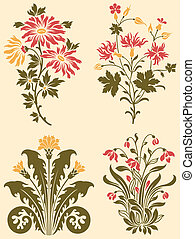 Decorative Wildflowers - A series of fancy ornamental...