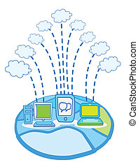 Global Data cloud computing vector
