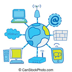 internet Global Network communication vector image