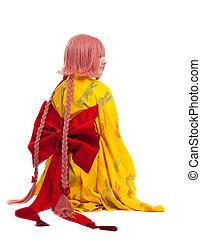 niña, cosplay, carácter, kimono, disfraz