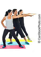 Group of people doing fitness - Group of three people doing...