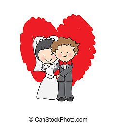 wedding invitation. just married hugging