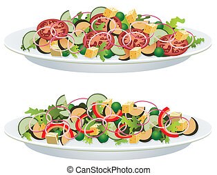 vegetable salads - vector vegetable salads on a plate