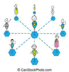 team work success link vector image