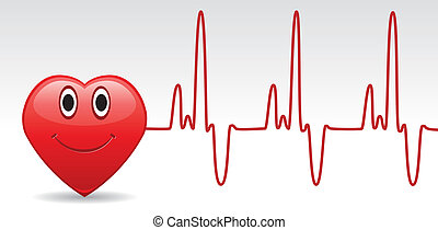 heart and heartbeat - vector happy heart and heartbeat