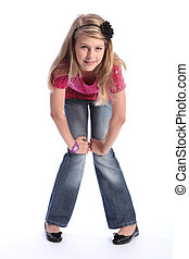 Cute young blonde school girl jeans and pink shirt - Pretty...