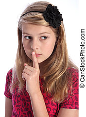 Keep quiet by scared young school girl alone - Frightened...