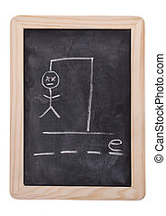 Hangman Help - The game hangman on a blackboard with the...