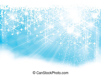 Sparkling Christmas lights - Dreamy blue light burst...