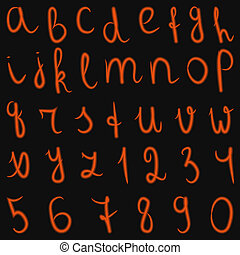 vector latin burning alphabet and numbers