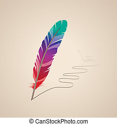 Many-coloured feather on beige background