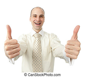 cheerful business man gesturing thumbs up