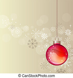 Pastel Christmas background with hanging red ball