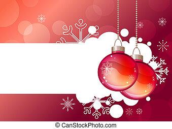 Bolas, vidro, fundo, penduradas, Natal, vermelho