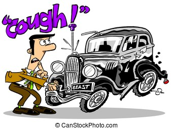 cough. - Cartoon of man trying to start old car on white...