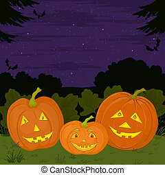 Halloween pumpkins family - symbol of a holiday of...