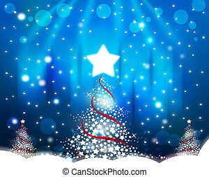 christmas tree on the blue background