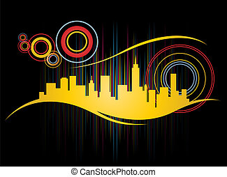 Retro City Skyline - Funky Retro City Skyline Design