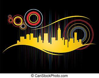 Retro City Skyline - Funky Retro City Skyline Design